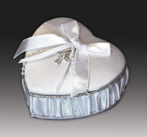 First Communion Satin Keepsake Heart Box with Rosary