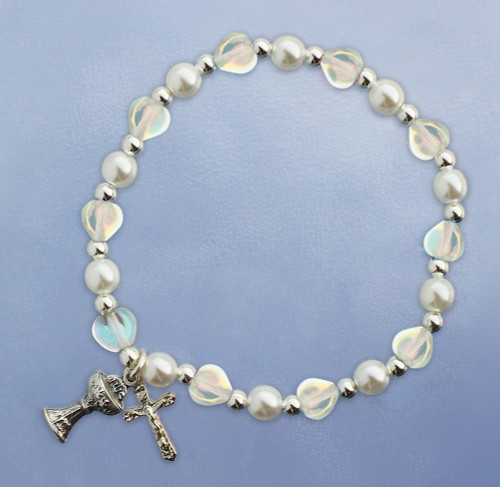 First Communion Crystal Hearts Stretch Bracelet