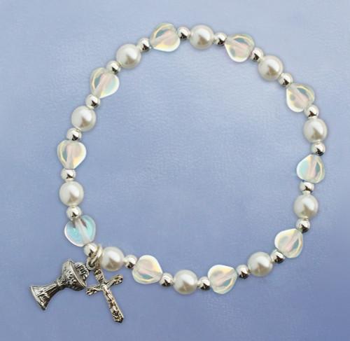 First Communion Crystal Hearts Stretch Bracelet