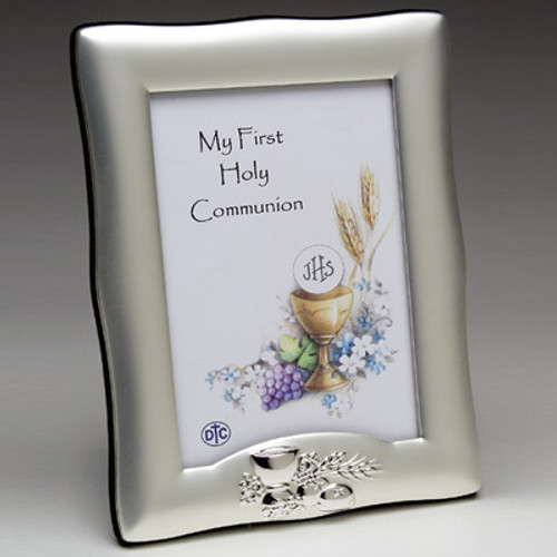 Brushed Satin Chalice & Wheat Picture Frame - Personalized