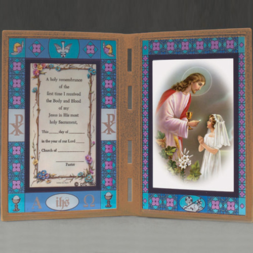 Girl's First Communion Stained Glass Frame w/ Color Prayer