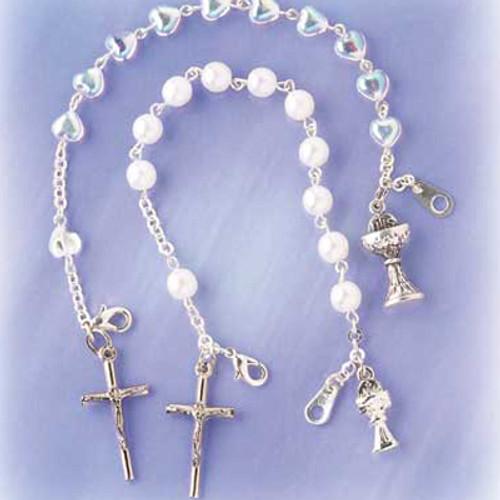 Crystal Heart Rosary Bracelet w/ Chalice & Cross