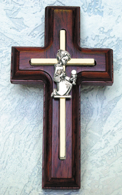 First Communion Rosewood Stained Cross - Boy's