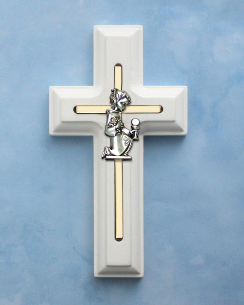 First Communion White Wooden Cross - Girl's
