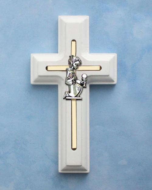 First Communion White Wooden Cross - Girl's