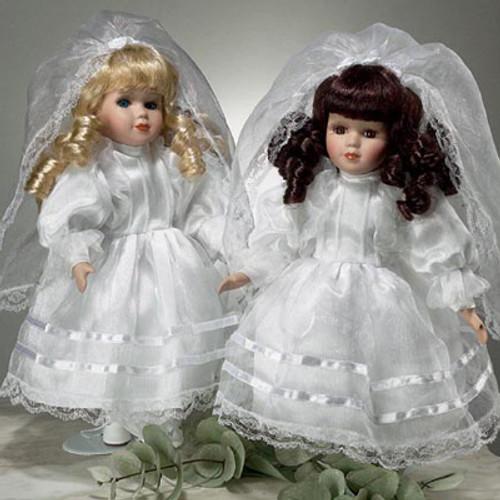 """Painted Porcelain 12"""" Communion Doll - Blonde"""