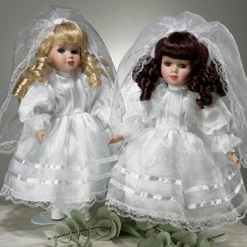 """Painted Porcelain 12"""" Communion Doll - Brunette"""