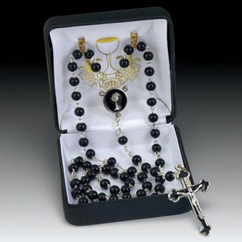 First Communion Rosary w/ Gift Box | Black or White