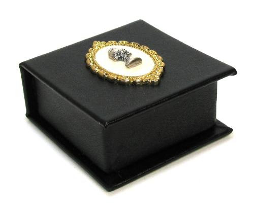 Black Leatherette Keepsake Rosary Box