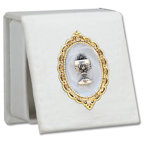 White Leatherette Keepsake Rosary Box