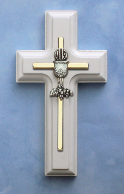 "5"" White Wooden Gold Chalice Cross"