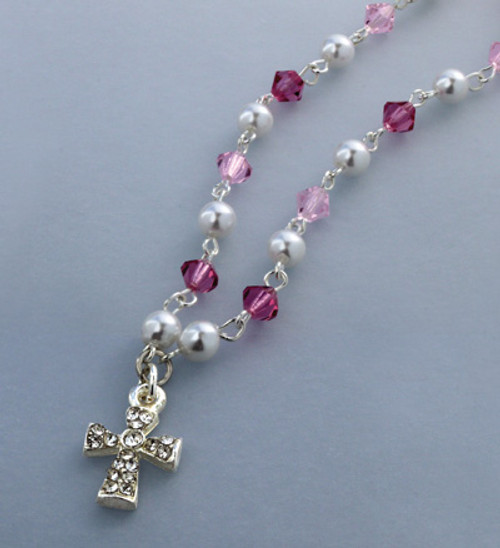 Bohemian Crystal Necklace w/ Rhinestone Cross