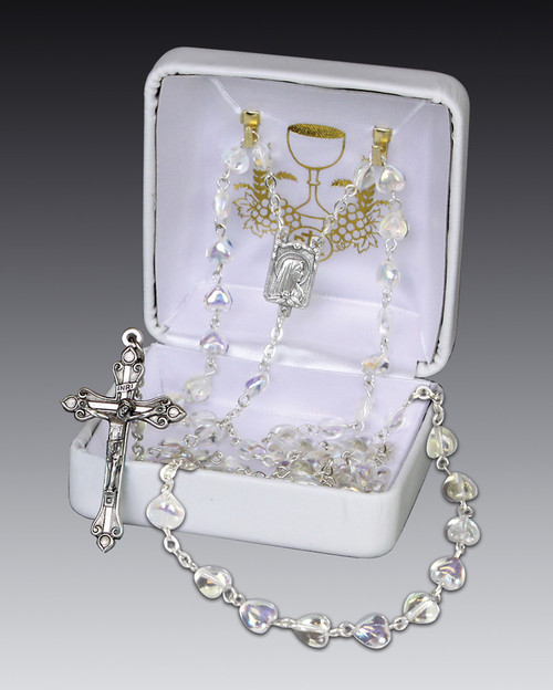 Heart-Shaped European Crystal Rosary