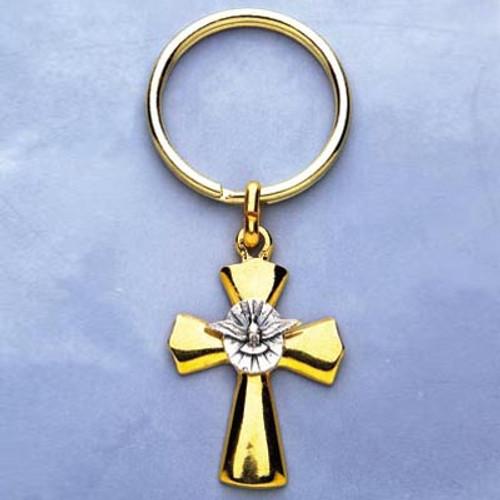 Gold-tone Cross Keychain