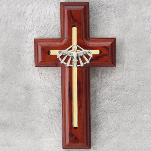 """5"""" Rosewood-Stained Holy Spirit Cross"""