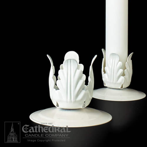 "1-1/4"" White Metal Candle Stand"