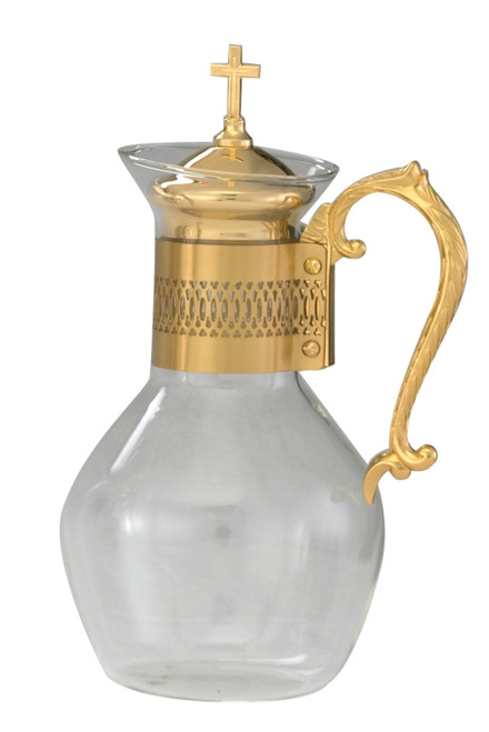 Glass Flagon w/ Gold Plated Handle - 48oz, 11""