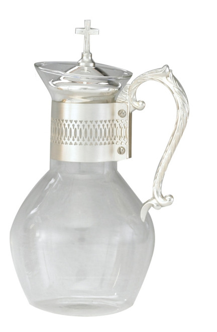 Glass Flagon w/ Silver Plated Handle - 48oz, 11""