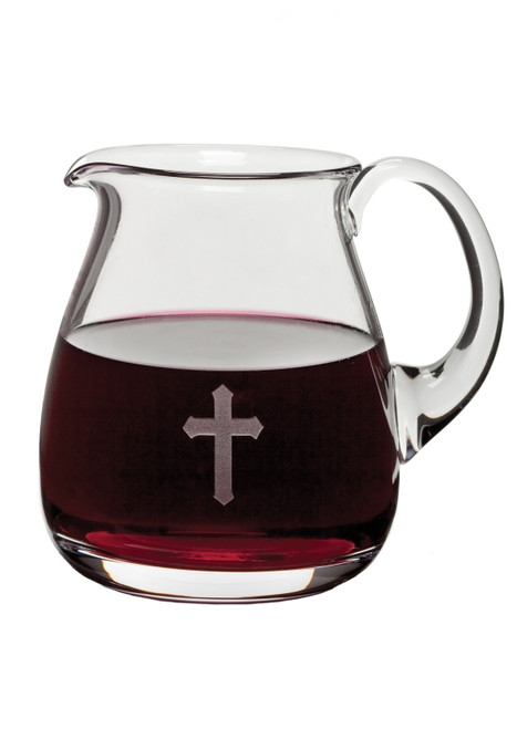 Open Mouth Glass Flagon w/ Etched Cross Design - 32oz, 6""