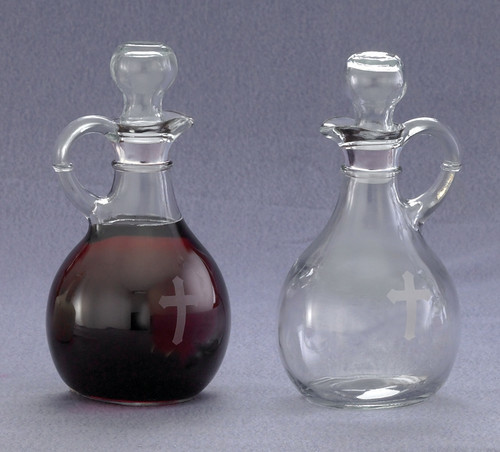 Glass w/ Etched Cross Cruet Set - 10oz, 6""