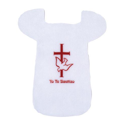 """Baptismal Cross & Dove """"Yo Te Bautizo"""" Bib"""
