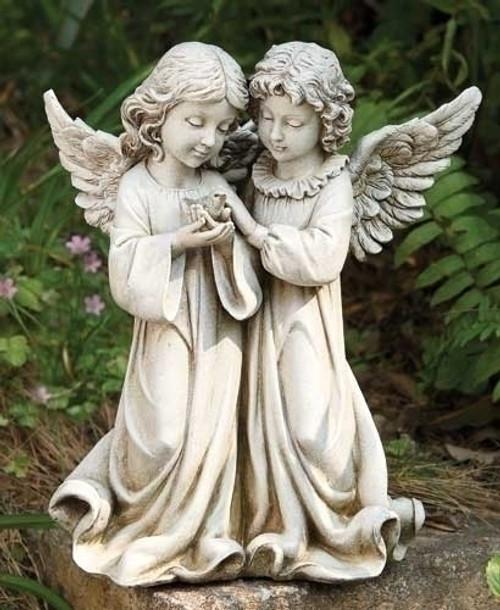 "12"" Angels with Bird Garden Statue | Resin/Stone"