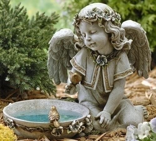 "11"" LED Solar Angel Bird Bath Garden Statue | Resin/Stone"