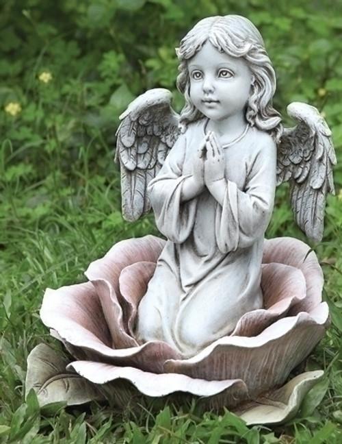 "11"" Angel In Rose Garden Statue | Resin/Stone"