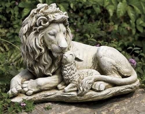 "12"" Lion & Lamb Garden Statue | Resin/Stone"