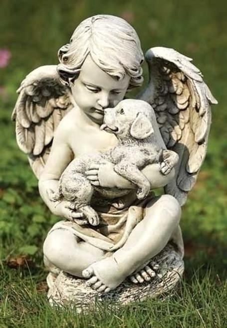 """12"""" Cherub with Puppy Garden Statue"""
