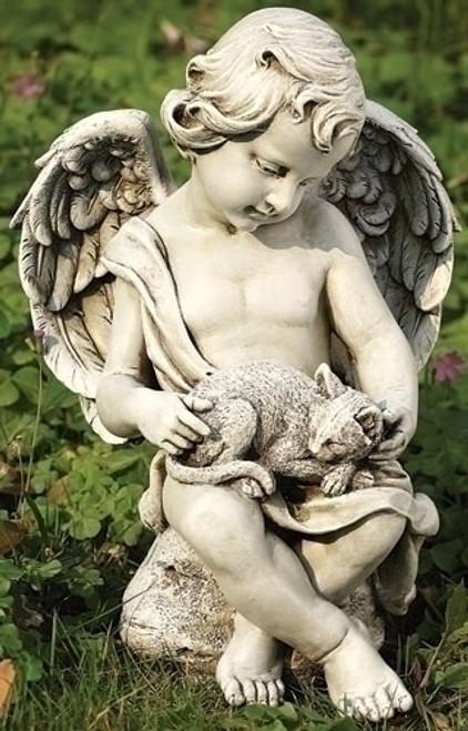 "12"" Cherub with Kitten Garden Statue | Resin/Stone"