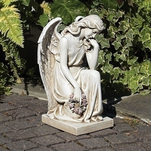 "18"" Kneeling Angel on Base Garden Statue"