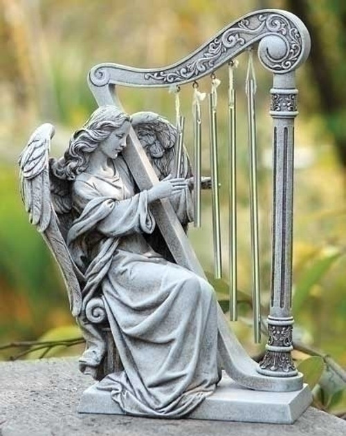 """10"""" Seated Angel Harp Wind Chime Garden Statue 