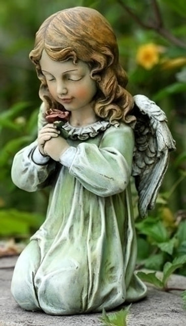 "12"" Kneeling Angel Colorized Garden Statue"