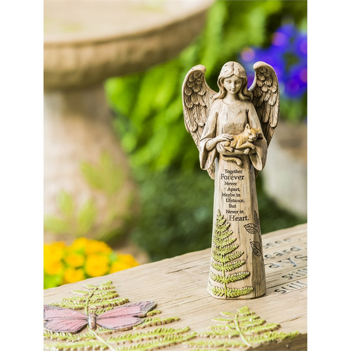 "10"" Together Forever Angel with Kitten Statue 