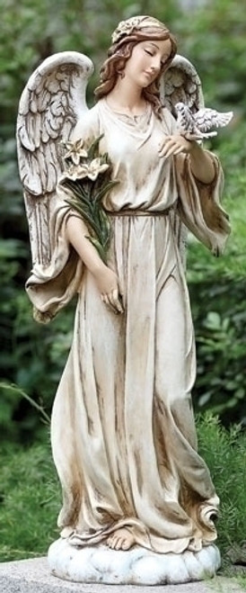 "25"" Angel with Dove Colorized Garden Statue 
