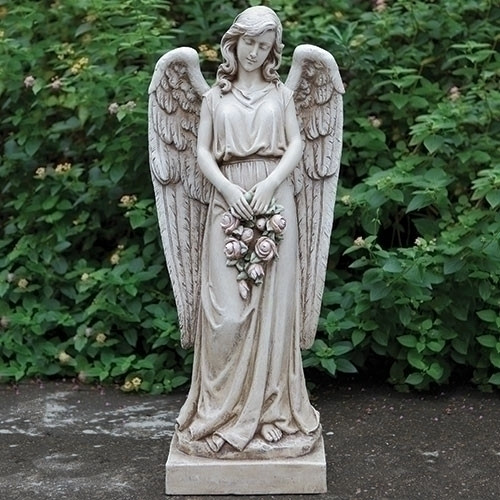 """37"""" Angel Holding Rose Wreath Garden Statue - Versailles Collection 