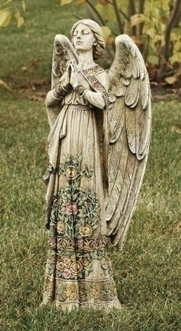 "24"" Praying Angel with Rose Dress Garden Statue 
