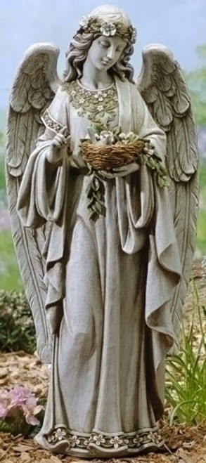"24"" Angel Holding Nest Garden Statue 