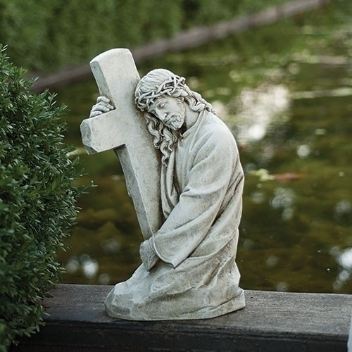 "18"" Jesus Holding Cross Garden Statue 