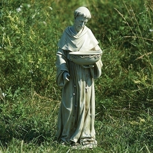 "20"" St. Francis Solar Bird Bath Garden Statue 