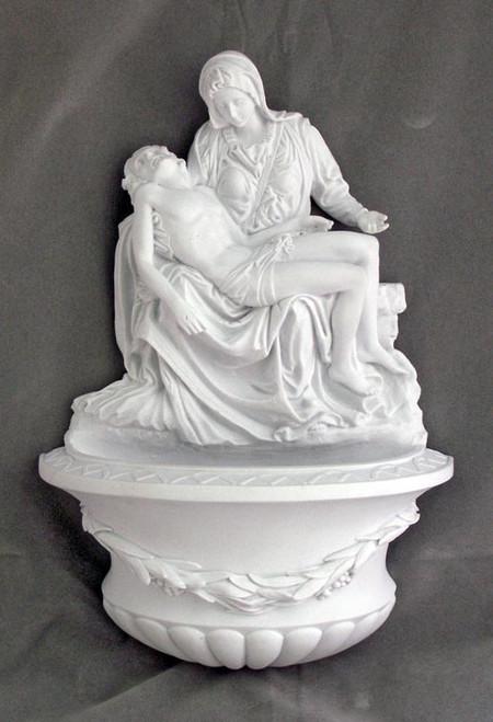 "10"" Pieta Holy Water Font | White Resin"