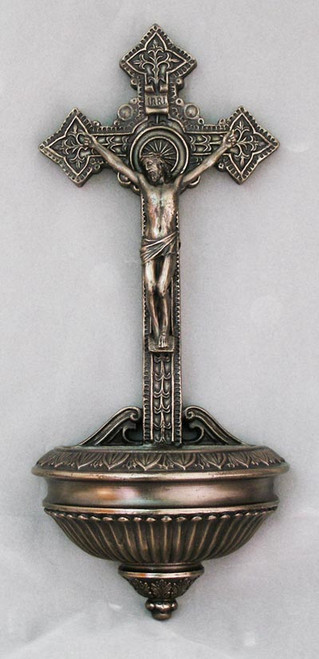 "11"" Crucifixion Holy Water Font 