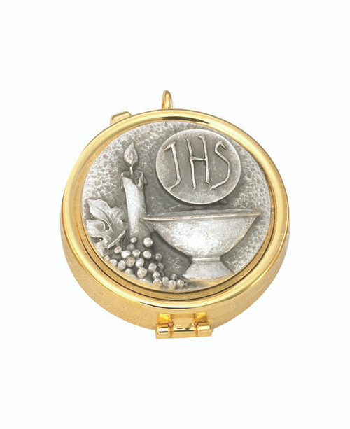 IHS Pyx | 24K Gold Plate | Holds 7 Hosts