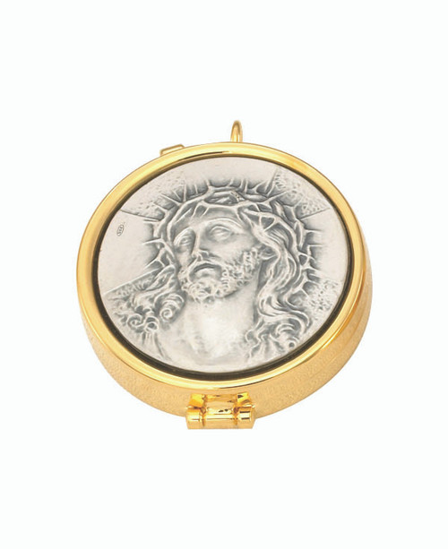 Jesus Crucifixion Pyx | 24K Gold Plate | Holds 7 Hosts