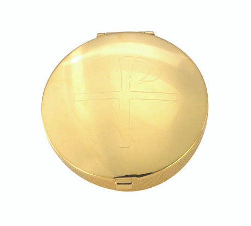 Engraved Staff Cross Pyx | 24K Gold Plate| Holds 6 Hosts