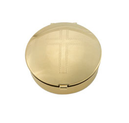 Engraved Cross Pyx | 24K Gold Plate | Holds 6 Hosts