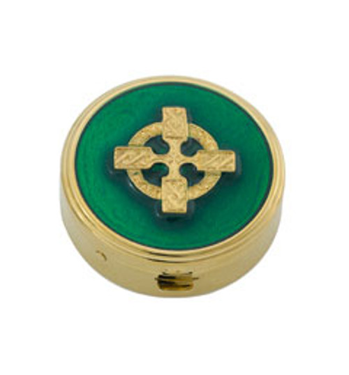 Epoxy Celtic Knot Irish Pyx | 24K Gold Plate | Holds 6 Hosts