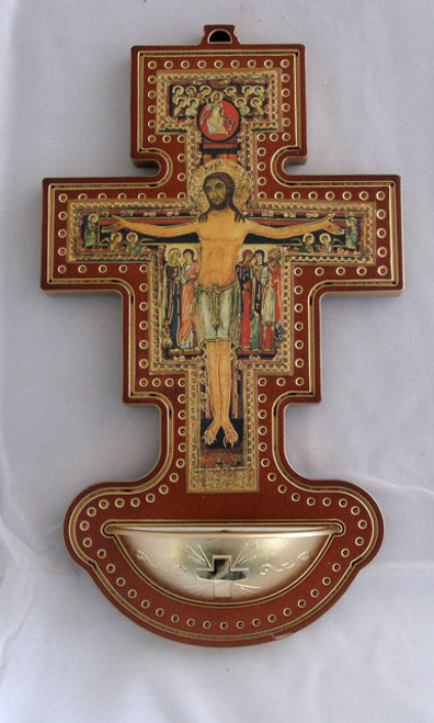 """8"""" San Damian Cross Holy Water Font - Made In Italy"""