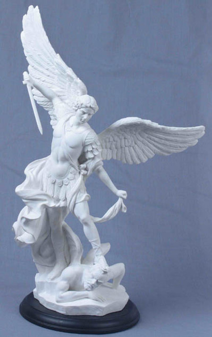 "15"" St. Michael Statue | White Resin on Black Wood Base"
